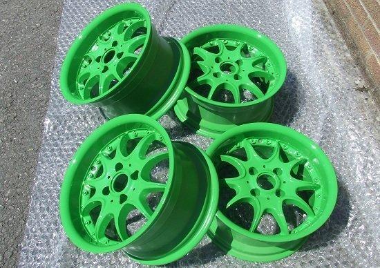 Lime Green Alloy Wheels Restoration - KMA Shot Blasting